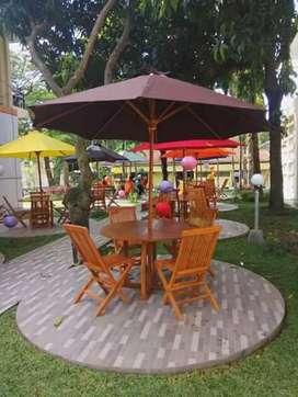 Meja payung taman jati