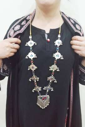 long necklace with multicolor stone and silver bells statementnecklace