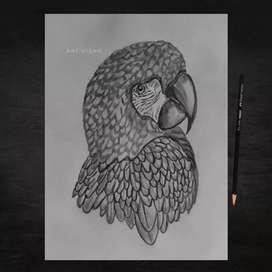 Parrot potrait frame for wall