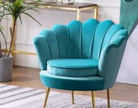 ANUGRAH-FURNITURE,Sofa single VINTAGE blue motif kerang kulit oscar.