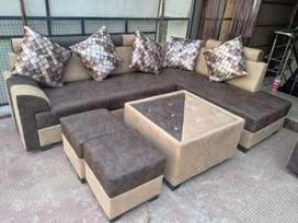 No cost corner sofa set visit Satya furniture (center table + puffies)