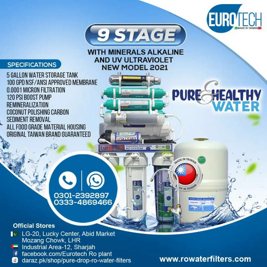 9 stage Ro water filter plant Taiwan Euro Tech Ro plant 100 GPD