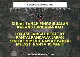 DIJUAL TANAH PINGGIR JALAN KARANG PANDAWA BALI