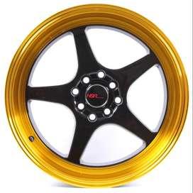 JUAL VELG HSR AVALON R17X75/85 H8X100-114.3 ET35 BK/GOLD/DL