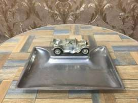 ANTIQUE COLLECTABLE LESNEY VINTAGE MODEL CAR MOUNTED ON STEEL ASHTRAY