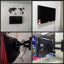 Bracket Tv led lcd plasma + pasang ukuran 15inc-70inc