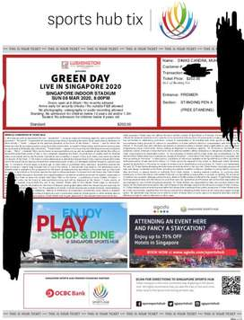 Dijual Tiket Konser Green Day live in Singapore 8 Mar 2020