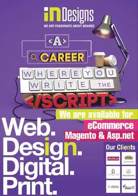 We are available for eCommerce on Magento & Laraval iNDesigns Digital
