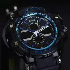 Jam tangan pria mode terbaru hitam list biru S949