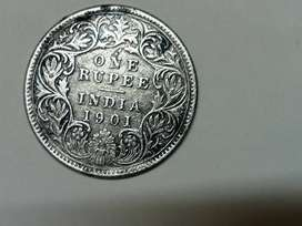 Silver Old Victoria coins 1901, 120 year old