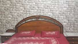 king size bed with 2 side tables and 1 dressing table in quetta