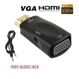 Adapter HDMI to VGA and Plus Port Audio AUX for HDTV Full HD 1080p
