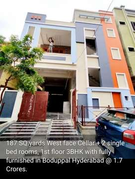 3Bhk independent house cellar +2 Single bed rooms in Boduppal