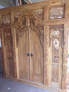 Gebyok 2,5m pintu utama GRATIS oker