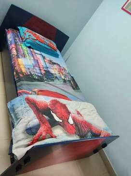 Spiderman kids bed with customised mattress and attached side table