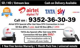 TATA SKY DTH AIRTEL SET TOP BOX NEW CONNECTION IPL FAMILY OFFER D2H