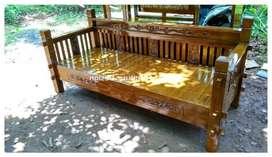 bale bale jati / daybed kayu ukir minimalis jepara kf-4669