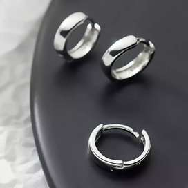 1 karet silver plated male earrings original silver plated     for man