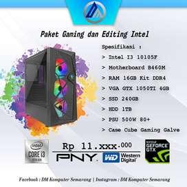 PC Komputer Gaming Editing Intel I3 10105F VGA GTX 1050TI 4GB Ready