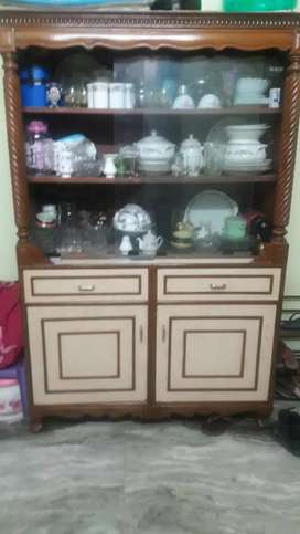 Showcase with storage cabinets
