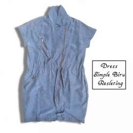 OBRAL MURAH!! Dress Simple Biru Resleting (Nego)