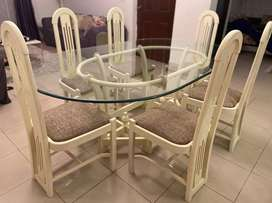 6 Seater Dining Table with Glass Top