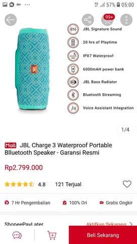 Speaker bluetooth jbl charge 3 original garansi resmi IMS warna hijau
