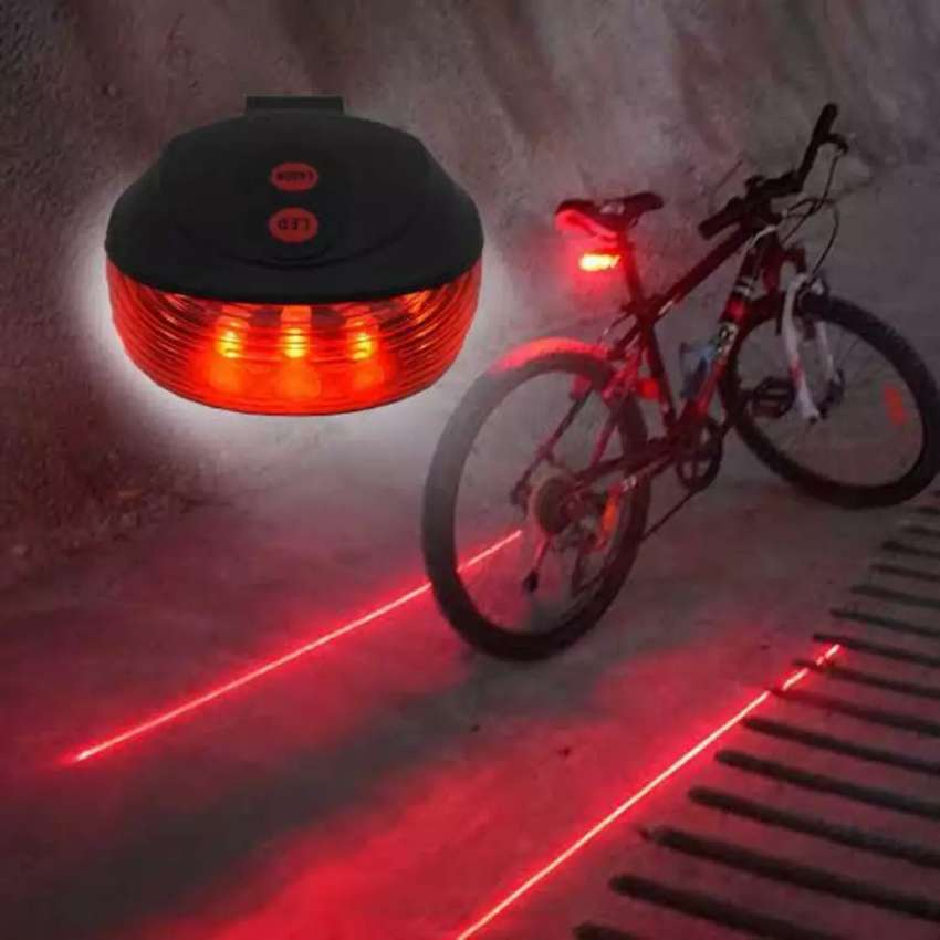 5 LED + 2 LASER #Bicycle Back Caution Tail #Light Warning 0