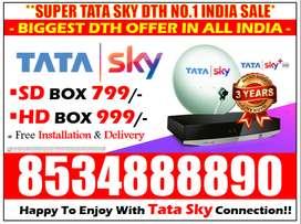 Special India's No.1 Offer! Tata Sky Dishtv Tatasky Airtel DTH Book !!