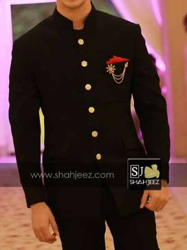 Black Rib Suiting Golden Buttons Prince Coat