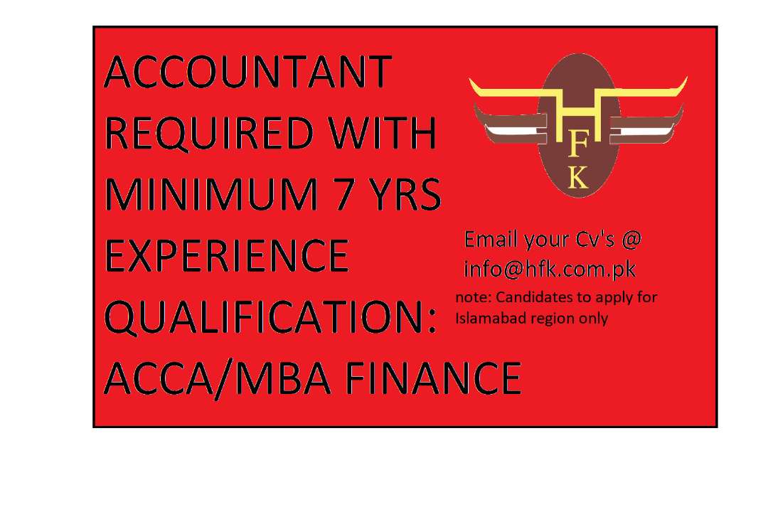 ACCOUNTS MANAGER REQUIRED
