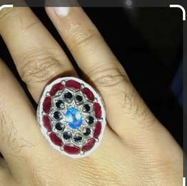 Beautiful Silver Ring with Ruby & Sapphire
