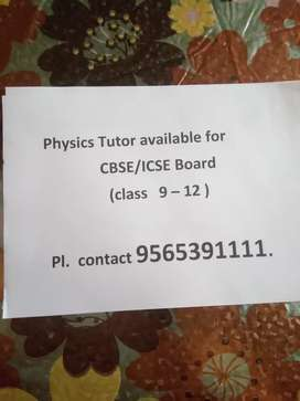 Home tutor for physics  class XI to XII in Gomti Nagar area