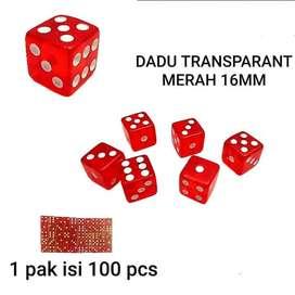 mainan dadu transparan 16 mm isi 100 merah