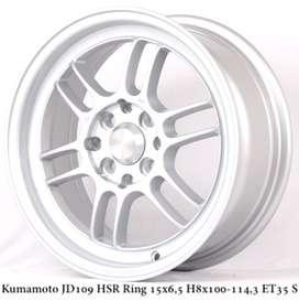 velg racing KUMAMOTO JD109 HSR R15X65 H8X100-114,3 ET35 SILVER