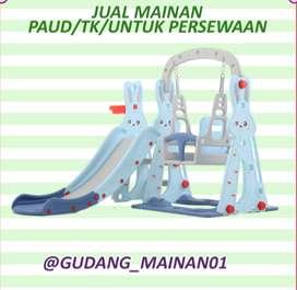 Mainan Playground Indoor Perosotan, Ring Basket Serta Ayunan Murah