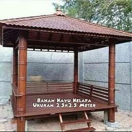 Gazebo kayu kelapa ukuran 2,5x2,5m ready stok