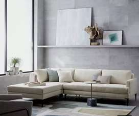 Cream sectional L shape sofa with 5 years of warranty