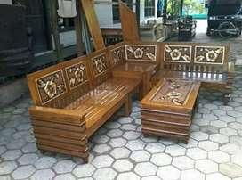 Kursi tamu sudut asli bahan kayu jati