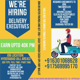 wanted delivery executives-Hyderabad(All Locations)