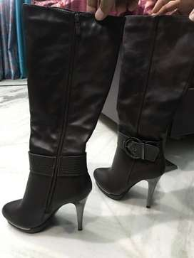 Pair Of Black Leather Knee High Boots brand new for girls in 36 size..