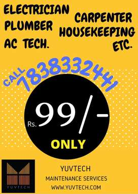 Call in Rs 99 Electrician, Plumber, AC Technician, Carpenter etc