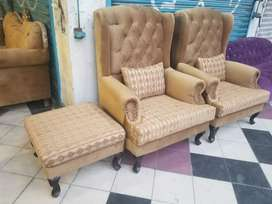 2 wing chairs with stool new