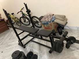 Gym bench 5 in one with pvc plates and rodes