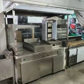Shawarma counter 6 feet with machine led lights we hve pizza oven etc