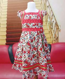 Dress pesta anak  panjang Kwalitas butik Mewah Katun Usia 9-12 tahun