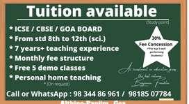 Tuition available for ICSE CBSE GOA BOARD  maths teacher sir (tution)