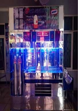 Perakitan depot air minum partisi stainlees dari Damisiu