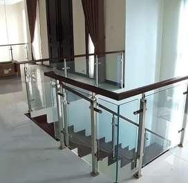 Reling tangga stenlis kaca dan balkon handrail kayu $2697