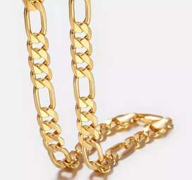 1 karat gold plated and silver plated chain for  grils and boys writy